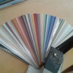 One of our aluminium venetian blind swatches from the Hunter Douglas range.